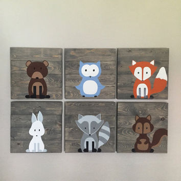 Woodland Creature Nursery Signs, Set of 6, rustic pallet signs,14x14, fox pallet sign, owl sign, bear sign, forest animals, woodland nursery