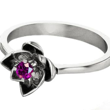 Botanical Ring Amethyst Flower Ring Lotus Ring Purple Flower Ring 18K White gold Engagement Ring