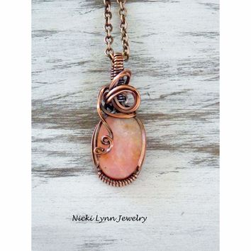 Copper Wire Wrapped Peruvian Pink Opal