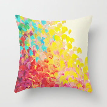 CREATION IN COLOR - Vibrant Bright Bold Colorful Abstract Painting Cheerful Fun Ocean Autumn Waves Throw Pillow by EbiEmporium