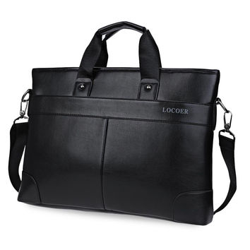Men Black Leather Bag Male Messenger Shoulder Bag Business Laptop Satchel Men's Briefcase Handbag Large Shoulder Bags Book Tote