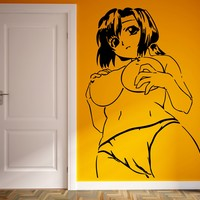 Vinyl Decal Wall Sticker Beautiful Naked Woman Anime Manga Sexy Hot Girl Decor for Adult Bedroom Unique Gift (m001)