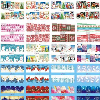 40pcs Christmas Theme Nail Art Water Transfer Stickers Full Wraps Xmas Snowflake/Santa Clause/Bell/Deer Nail Decals JIBN205-252
