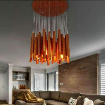 Modern Luxury novelty Irregular wood bar combination LED ceiling chandelier lamp home deco living room match chandelier light