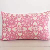 Strawberry pink & cream ornate with ivory linen cushion cover - designer lumbar cushion  - FREE SHIPPING Australia wide