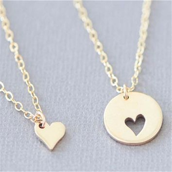 11.11 Big sale in Jewelry  2PCS A Set Mother Daughter Necklace Heart Love Mom Necklaces & Pendants For Women