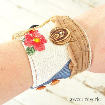 Vintage Fabric Wrist Cuff Textile Bracelet by asweetreverie
