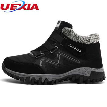 UEXIA High Quality Snow Boots Men Footwear Ankle Winter Boots Fur Anti-Skidding Winter Shoes Men Russian Casual Moccasin Rubber