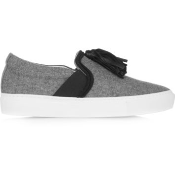 Lanvin - Leather-tasseled brushed wool-felt slip-on sneakers