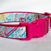 Dog Collar Made from Lilly Pulitzer In the Beginning Fabric Size: Your Choice