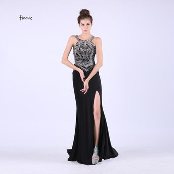 Evening Dresses Sexy Knitting Beading Black Formal Floor Length Gown Sheath Women Party Long Dresses