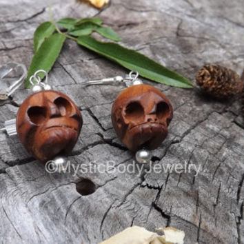 Wood Skull Earrings 20g Dia de los Muertos Calavera Day of the Dead Dangle Silver Hook Mexican Shrunken Head Skulls Fishhook Halloween Pair