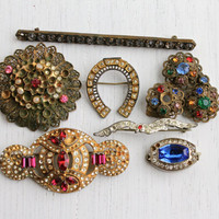 Antique Art Deco, Edwardian Rhinestone Brooch Repair Lot - 7 Glass Stone Costume Jewelry Pins, Clips, Clasp / Old Colorful Supplies