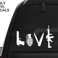 Gun Love Vinyl Decal *Choose Size & Color* Pistol Knife Grenade Rifle Vinyl Sticker Love Weapons Car Truck Decal - Arsenal Gun Safe Decal
