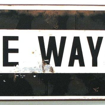 One Way Metal Wall Plaque