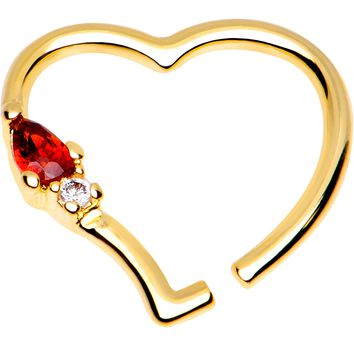 "3/8"" Red CZ Gem Gold Plated Free Heart Right Daith Cartilage Tragus"