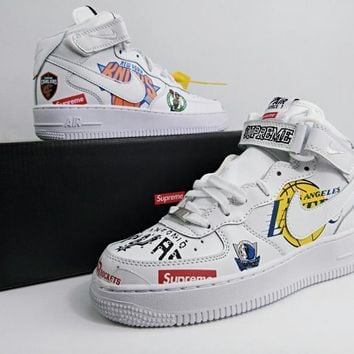 Supreme x NBA x Nike Air Force 1 Mid White Sneakers - Best Deal Online