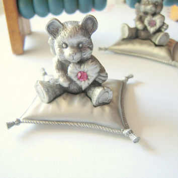 Birthstone pewter teddy bear collectible, nursery home office decor, heirloom gift, baby shower, October birthstone, desk or cake topper.