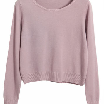 Long Sleeve Round Neck Ribbed Knit Sweater