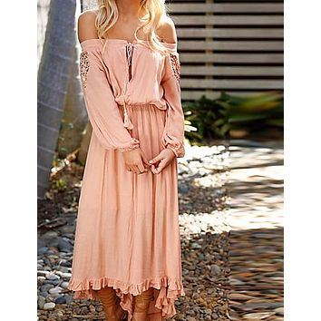 Women's Holiday Boho Maxi Dress - Solid Colored Dusty Rose, Lace Off Shoulder Spring White Blushing Pink M L XL