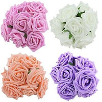 10Pcs Artificial Sponge Rose Flowers For Bride Wedding Bouquet Home Decoration Decor [7981685831]