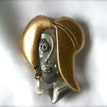 Vintage Lady in Hat Brooch Art Deco Style Pin Ultra Craft