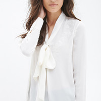 FOREVER 21 Embroidered Self-Tie Blouse Cream