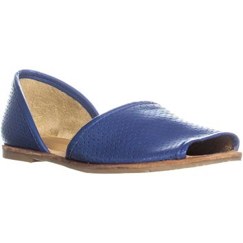 Franco Sarto Vada Peep Toe Perforated Slip On Flats, Cornflower, 8 US / 38 EU