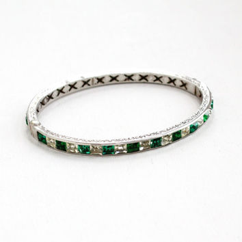 Antique Art Deco Emerald Green & Clear Rhinestone Bracelet - Vintage 1920s Sterling Silver Channel Set Bridal Formal Floral Etched Jewelry