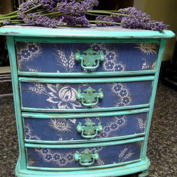 French Dresser Jewelry Box, Farmhouse French Cabinet, Handpainted in Turquoise Blue, French General Papers