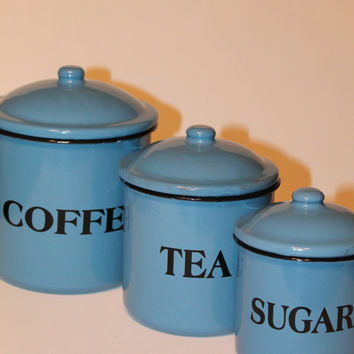 Blue tin metal three piece Vintage Canister set