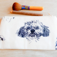 Dog Pouch, Zipper Pouch, Gift for Dog Lover, Pouch, Cosmetic Pouch, Coin Purse, Change Pouch, Dog Fabric Zipper Pouch, Back to School Supply