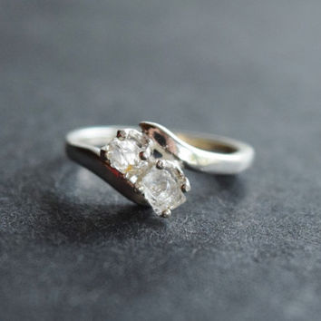 2 Stone Raw Diamond Engagement Ring Rough Natural and Uncut Wedding Band Raw Gemstone