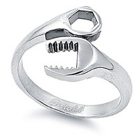 316L Stainless Steel Women's Ring - Wrench Design (High Polished) (7)