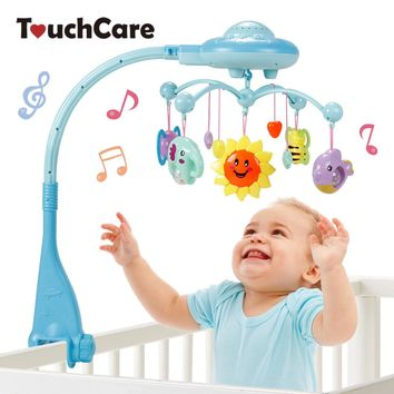 Touchcare Musical Crib Mobile Bed Bell Baby Rattle with Teether Rotating Flashing Bracket Projecting Toy Newborn Christmas Gift