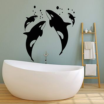 Vinyl Wall Decal Killer Whale Sea Ocean Style Bathroom Decor Stickers (2429ig)