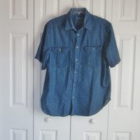 Short Sleeve Denim Shirt, Mens Jean Shirt, Vintage Shirt, Mens XL, Hipster 90s Grunge, Button Chest Pockets, Cotton Chambray Denim