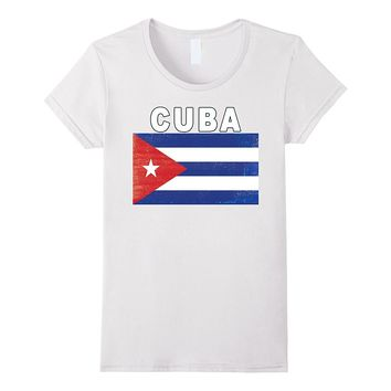 Distressed Cuba Flag T-shirt - Vintage-Style Cuban Shirt