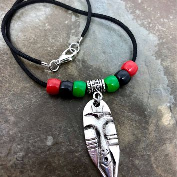 Handmade African mask, tribal Car mirror hanger accessory or necklace.........Choose your length