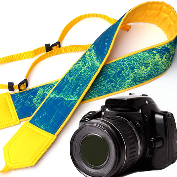 World Map Camera Strap. DSLR / SLR Camera Strap. North America. Eurasia. For Sony, canon, nikon, panasonic, fuji and other cameras. Yellow