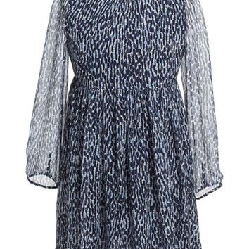 Girl's Burberry 'Hattie' Long Sleeve Print Silk Dress,