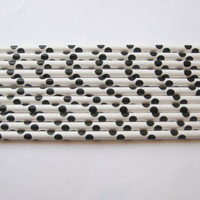 Straw Supplies - 25 Paper Black Polka Dot & White Drinking Straws/DIY Cake Topper/Wreaths