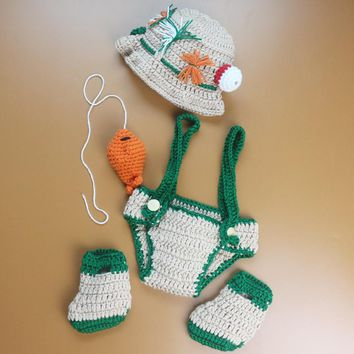Newborn baby boy photography props handmde crochet knit fisherman hat + diaper+shoes +fish photo props baby bonnet outfits