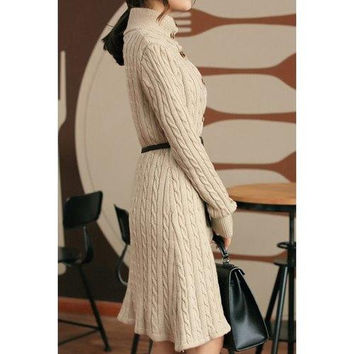 Trendy Long Sleeve Stand-Up Collar Cable-Knit Women's Dress