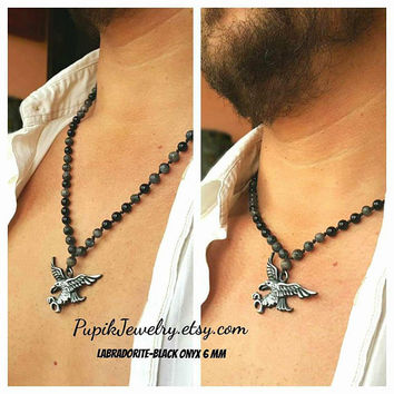 Men's Eagle Necklace,Eagle Pendant Necklace,Eagle Beaded Necklace,6 mm beads,American Eagle,USA,Custom Jewelry,Unique Jewelry,Charm Necklace