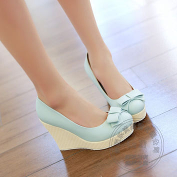 Bow Women High Heels Wedding Single Shoes 2017 Woman Wedges Wedge Casual Less Platform Pumps Sweet Multi Colored Cute