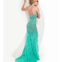Jasz Couture 2013 Prom -Strapless Aqua Feather Gown With Rhinestones - Unique Vintage - Cocktail, Pinup, Holiday & Prom Dresses.