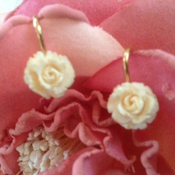 Winard 12K GF earrings carved ivory rose screwback bridal classic gift signed 1/20/12K gold filled vintage wedding mint collectible goldtone