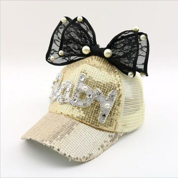 Trendy Winter Jacket Lovely Kids Baseball Cap Snapback Hats For Girls Baby Pearl Bow Sequin Mesh Children Summer Mesh Cap Sun Visor Bone AT_92_12
