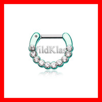 Teal Septum Clicker 16g Teal Glistening Multi Gem 14g Septum Ring Earring Cartilage Piercing Tragus Ring Helix Conch Nose Belly Nipple